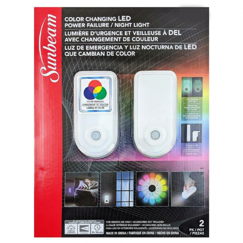 Sunbeam Wall Light Colour Changing LED Sensor Night Light & Torch 2 Pack